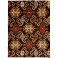 Abbott Ikat Dark Brown Rug (3' x 5')