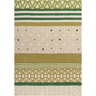 Hand-tufted Novelty Armenia Green Stripe Wool Rug (8' x 11')