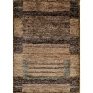 Hand-woven Casual Tumaco Brown Abstract Hemp Rug (8' x 11')