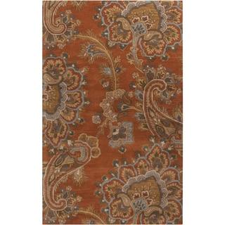 Hand-tufted Arauca Orange Wool Rug (8' x 11')