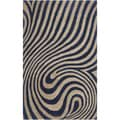 Hand-tufted Black Abstract Design Wool Rug (2' x 3')