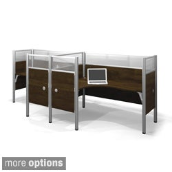 Bestar Pro-Biz Acrylic/Melamine Double Side-by-Side L-Desk Workstation