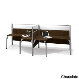 Bestar Pro-Biz Adjustable Double Side-by-Side L-Desk Workstation