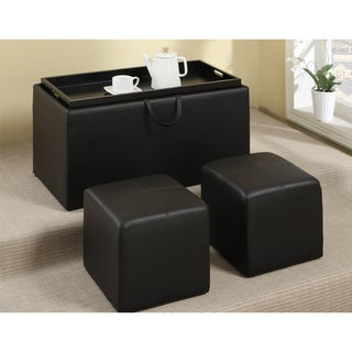 Dillard Black 3-piece Cocktail Ottoman Set