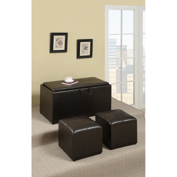 Dillard Brown 3-piece Cocktail Ottoman Set