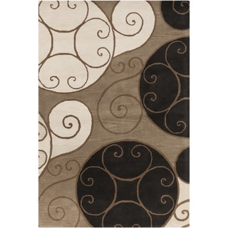 Hand-tufted Contemporary Joliet Beige Abstract Wool Rug (4' x 6')