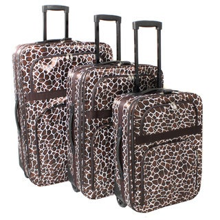 Safari Classic Giraffe Expandable Rolling Upright 3-piece Luggage Set
