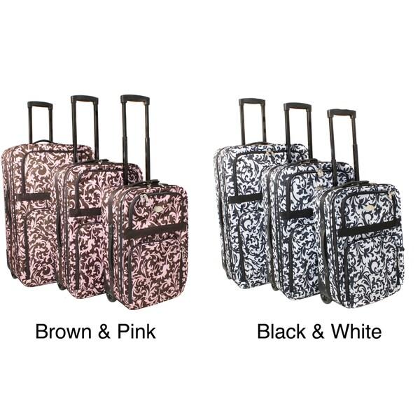 Damask Expandable Rolling Upright 3-piece Luggage Set