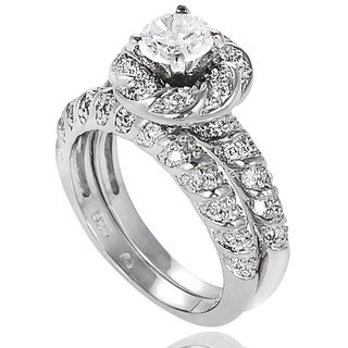 Tressa Collection Sterling Silver CZ Flower Bridal-style Ring Set