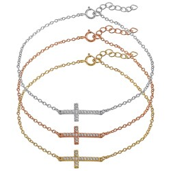 Tressa Collection Sterling Silver Cubic Zirconia Sideways Cross Bracelet