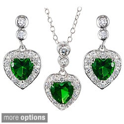 Tressa Collection Sterling Silver Cubic Zirconia Heart Jewelry Set