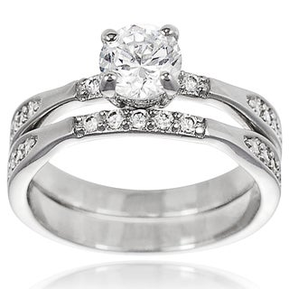 Tressa Collection Sterling Silver CZ Bridal-style Ring Set