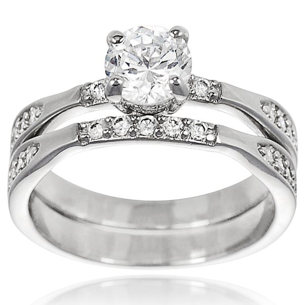 Journee Collection Sterling Silver CZ Bridal-style Ring Set