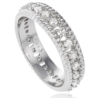 Journee Collection Sterling Silver CZ Bridal-style Band (6 mm)