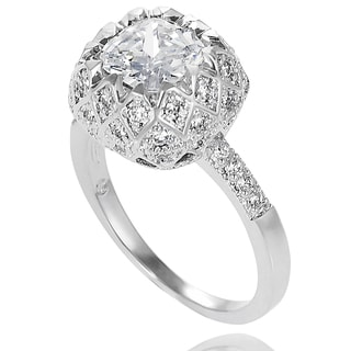 Tressa Collection Sterling Silver Cubic Zirconia Love-themed Bridal-style Ring