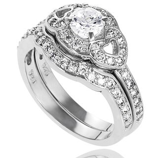 Tressa Collection Sterling Silver Round-cut Cubic Zirconia Bridal-style Ring Set (Set of 2)