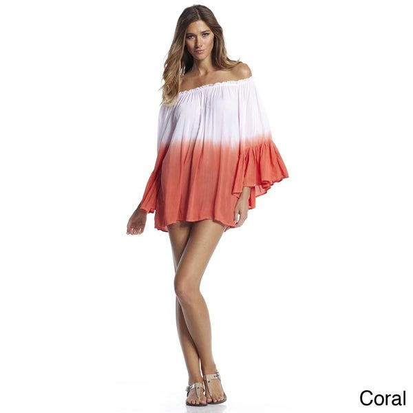 Elan Women's Ombre Coral Off-the-shoulder Ruffled Top