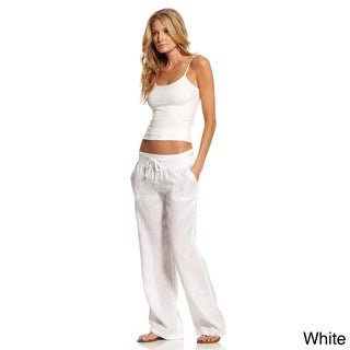 Elan Women's Linen Drawstring Lounge Pants