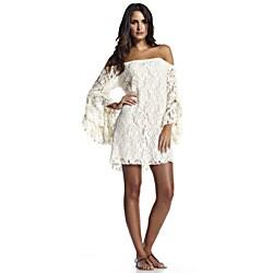 Elan Women's Natural Bell Sleeve Off-the-Shoulder Lace Dress