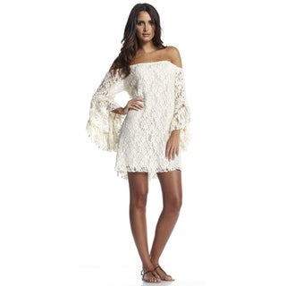 Elan Women's Natural Bell Sleeve Off-the-Shoulder Lace Dress