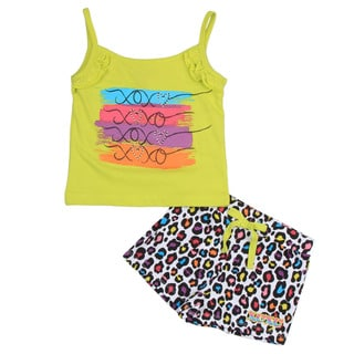 XOXO Girl's Green Tank with Cheetah Shorts Set