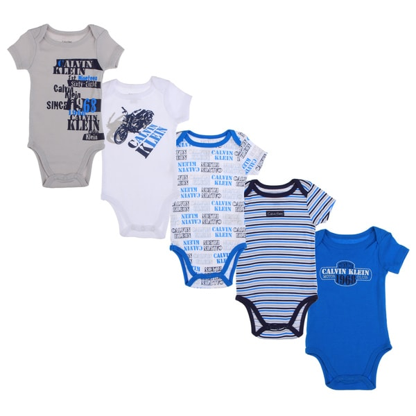 Calvin Klein Newborn Boys Printed Bodysuit Set in Blue/White