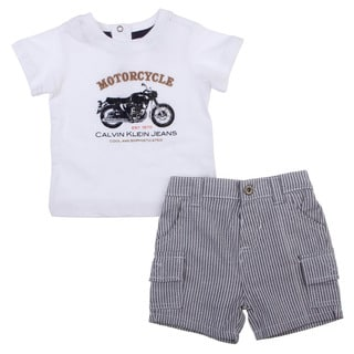 Calvin Klein Newborn Boy's White Motorcycle Tee with Jean Shorts Set
