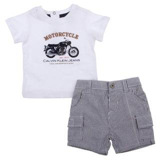 Calvin Klein Newborn Boy's White Motorcycle Tee with Jean Shorts Set