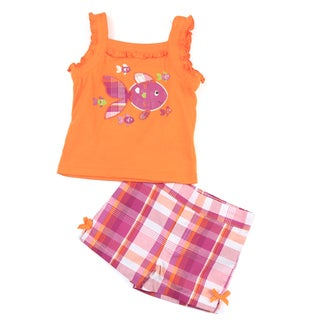 KHQ Toddler Girl's Orange Top with Pink Plaid Shorts Set