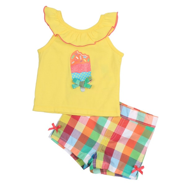KHQ Infant Girl's Yellow Top with Plaid Shorts Set