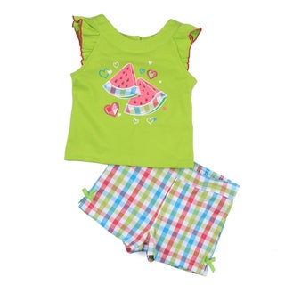 KHQ Infant Girl's Green Top with Plaid Shorts Set