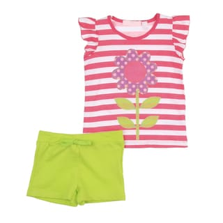 KHQ Toddler Girls Pink Flower Shirt with Green Short Set