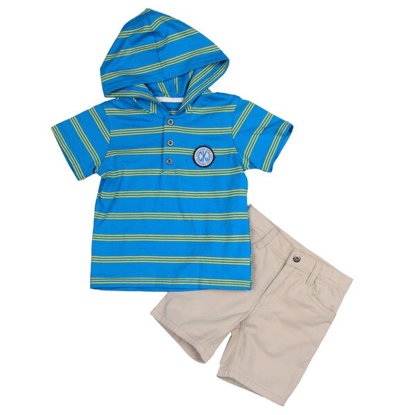 Calvin Klein Toddler Boy's Blue Striped Shirt and Short Set