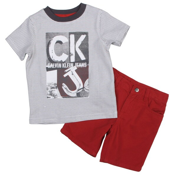 Calvin Klein Toddler Boy's CK Logo Tee and Red Short Set