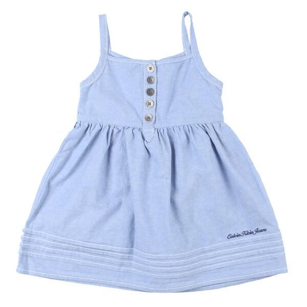 Calvin Klein Girl's Light Blue Ruffle Tank Dress