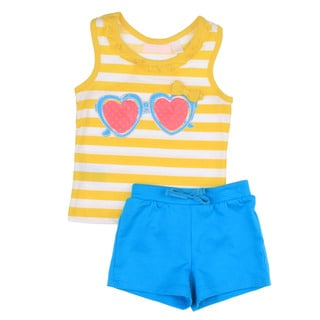 KHQ Toddler Girls Yellow Top with Blue Short Set