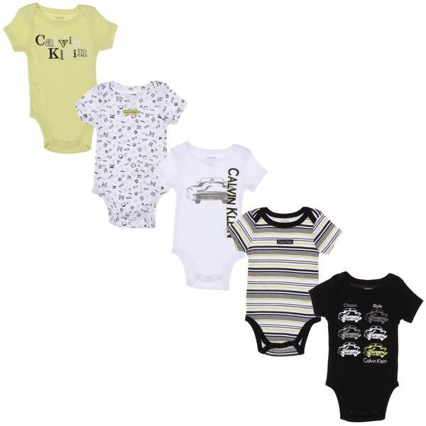 Calvin Klein Newborn Boys Printed Bodysuits Set in White/ Green/ Black (Set of 5)