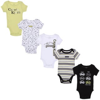 Calvin Klein Newborn Boys Printed Bodysuits Set in White/ Green/ Black (Set of 5)