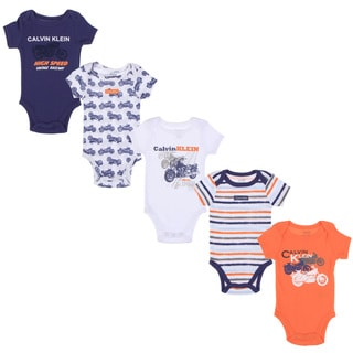 Calvin Klein Newborn Boys Printed Bodysuit Set in Orange/Blue/White
