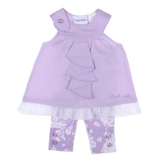 Calvin Klein Newborn Girls Ruffle Top and Pant Set in Lilac Flower