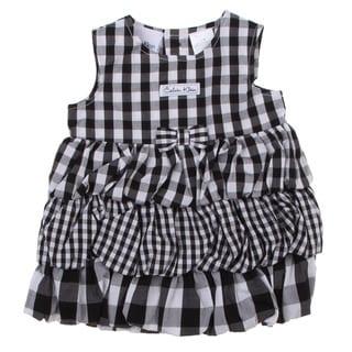 Calvin Klein Newborn Girls Check Dress with Bottoms Set in Black/ White