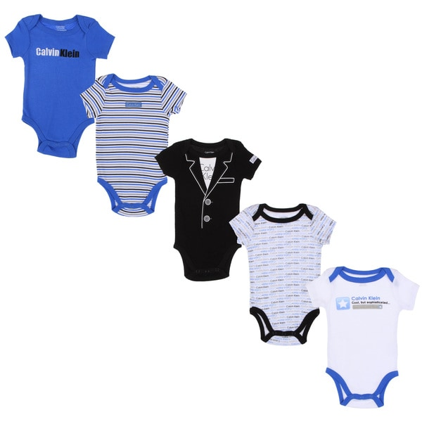 Calvin Klein Newborn Boys Printed Bodysuit Set in Blue/Black/White