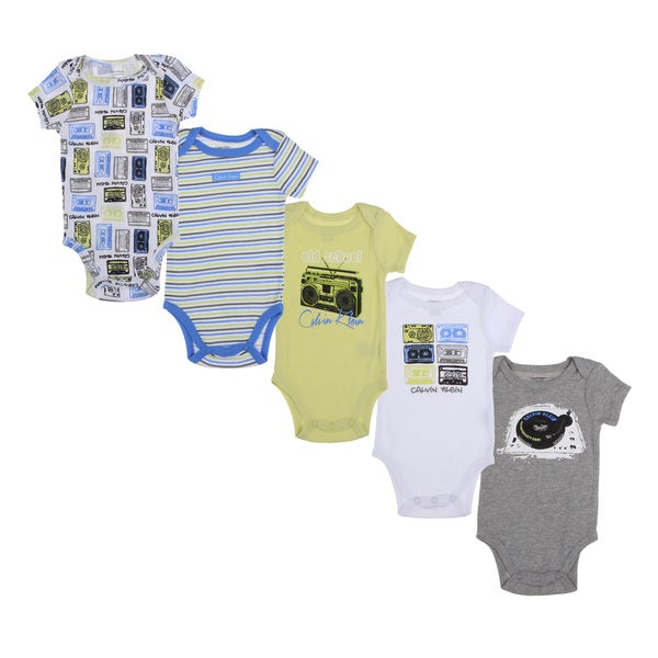 Calvin Klein Newborn Boys Printed Bodysuits Set in Green/ Blue/ White (Pack of 5)