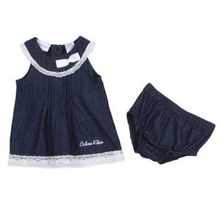 Calvin Klein Newborn Girl&#39;s Navy Dress with Matching Bottoms Set