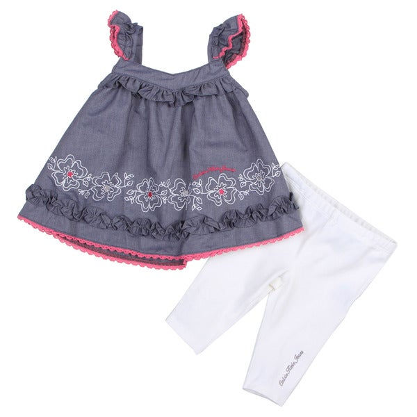 Calvin Klein Infant Girls Embroidered Dress Top and Solid Pant Set
