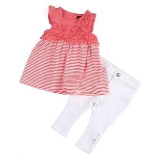 Calvin Klein Infant Girl's Pink Ruffle Stripe Top with White Bottoms Set