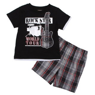 KHQ Toddler Boy's Black Shirt and Plaid Short Set