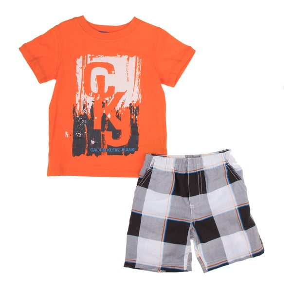 Calvin Klein Toddler Boys Orange Tee with Blue Plaid Shorts Set