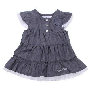 Calvin Klein Newborn Girls Blue Tiered Dress with Matching Bottoms Set