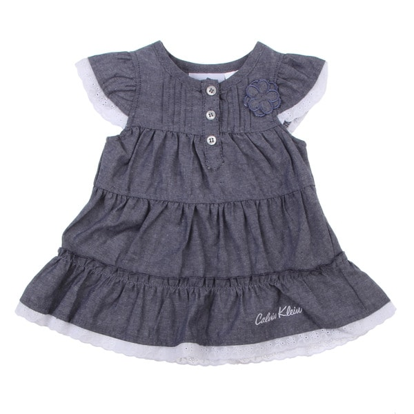 Calvin Klein Newborn Girls Blue Tiered Dress with Matching Bottoms Set
